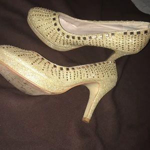 Glamorous Glitter Gold Heels